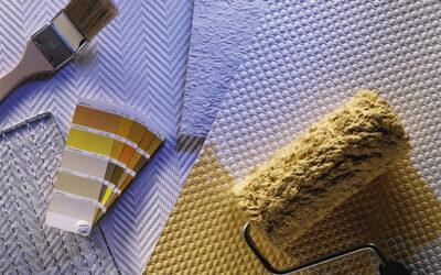 Наклейка флизилина/стеклообоев на потолок