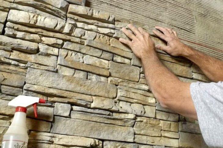 Наклейка искусственного/дикого камня на стены