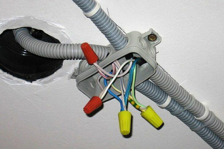 Прокладка кабеля в гофре